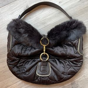Rare COACH Quilted Satin, Rabbit Fur Trimmed Bag